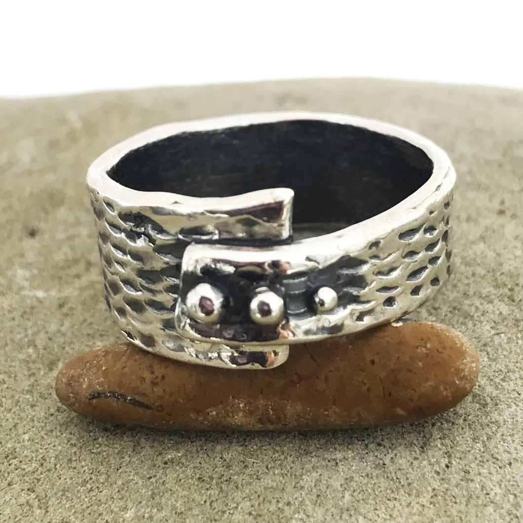 Asymmetrical Abstract Three Dot Sterling Silver Ring