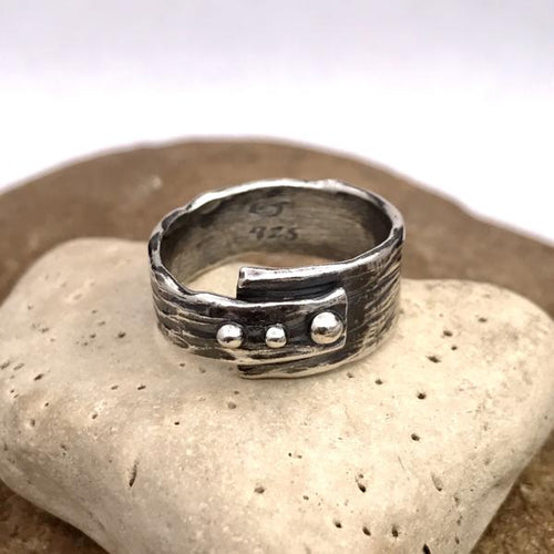 Asymmetrical Abstract Three Horizontal Dots Sterling Silver Ring