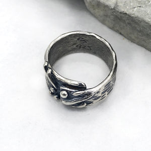 Asymmetrical Wrap Sterling Silver Lines and Dots Ring