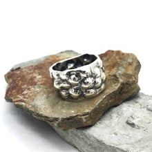 Load image into Gallery viewer, Bumped out Bubble Wide Ring Band Sterling Silver