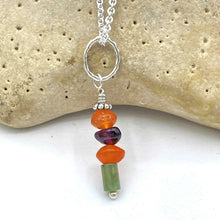 Load image into Gallery viewer, Carnelian Garnet Turquoise Rockstack Pendant or Charm with or without a chain