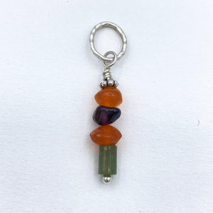 Carnelian Garnet Turquoise Rockstack Pendant or Charm with or without a chain