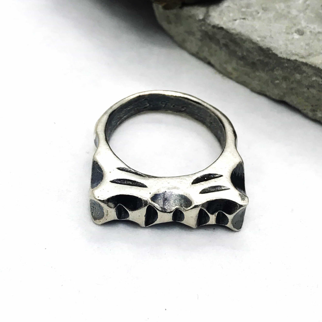 Chunky Carved Lines Sterling Silver Ring