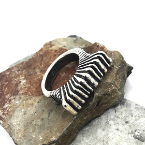 Chunky Deep Rays Sterling Silver Ring