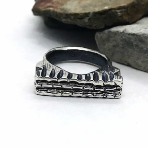 Chunky Trenched Sterling Silver Ring