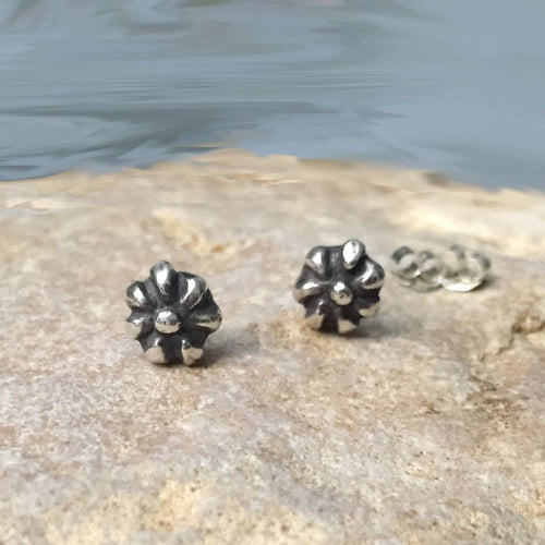 Tiny Sterling Silver Flower Ear Studs