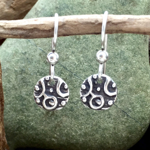 Sterling silver Happy Bubble Disc Earrings