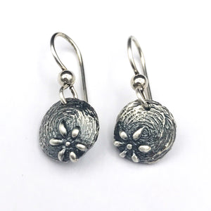 Sterling silver Textured Flower Earrings on French Hooks