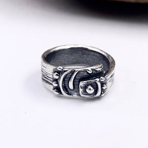 Asymmetrical Abstract Fringed Spiral Sterling Silver Ring