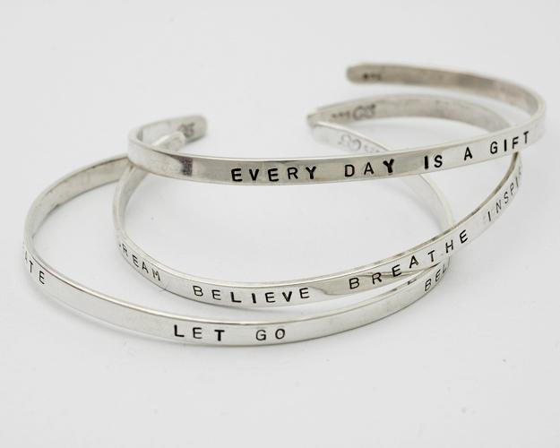 Life Wish Sterling silver Personalized for you with a Word, Name, Date, Phrase Cuff Bracelet