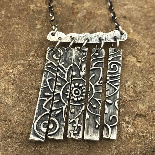 Sterling silver Mehndi design polyptych necklace