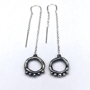 Organic Open Circle Earrings with 5 Meditation dots on Threaders