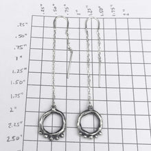 Load image into Gallery viewer, Organic Open Circle Earrings with 5 Meditation dots on Threaders