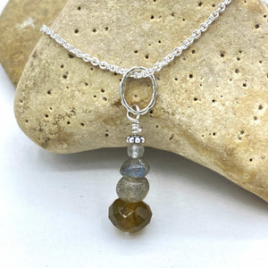 Quadruple Labradorite Rockstack Pendant or Charm with or without a chain