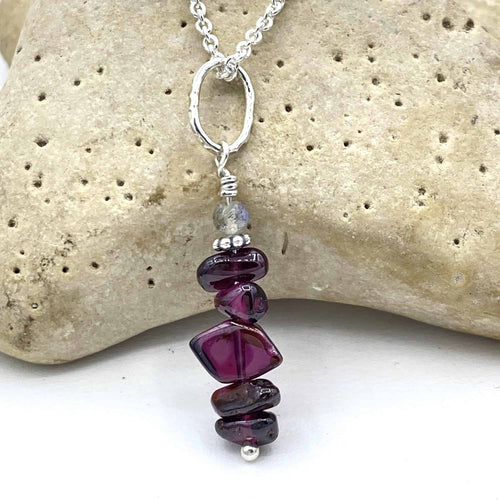 Quintuple Garnet Rockstack Pendant or Charm with or without a chain