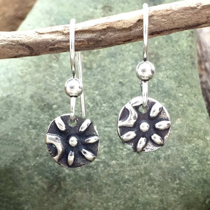 Side Flower Earrings on French Hooks