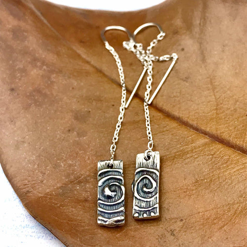 Rectangular Sun Spiral Earrings on Threaders, or French hooks, or Lever backs