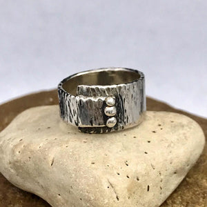 Asymmetrical Abstract Vertical Three Dot Sterling Silver Ring