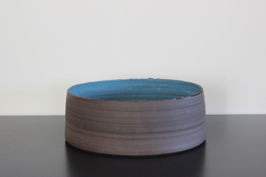 Dark Aqua CLIFF Vessel, low bowl