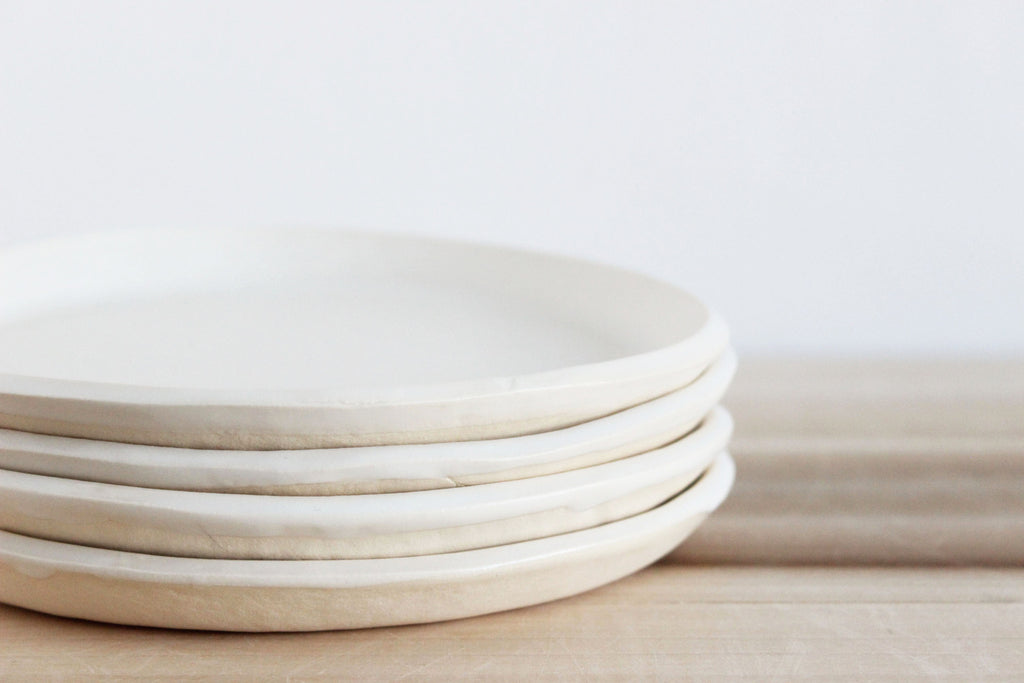 Slab plates 3 sizes Satin White & Slab plates 3 sizes Satin White u2013 Julia Paul POTTERY