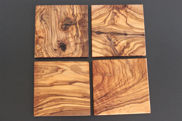 Olive Wood Coaster Set