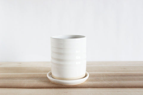 Large White Cup and Lid/Saucer