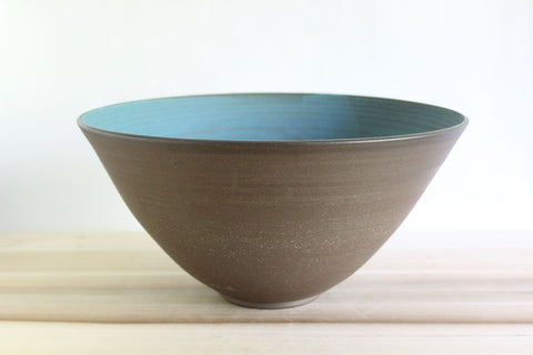 Large decorative aqua ceramic bowl
