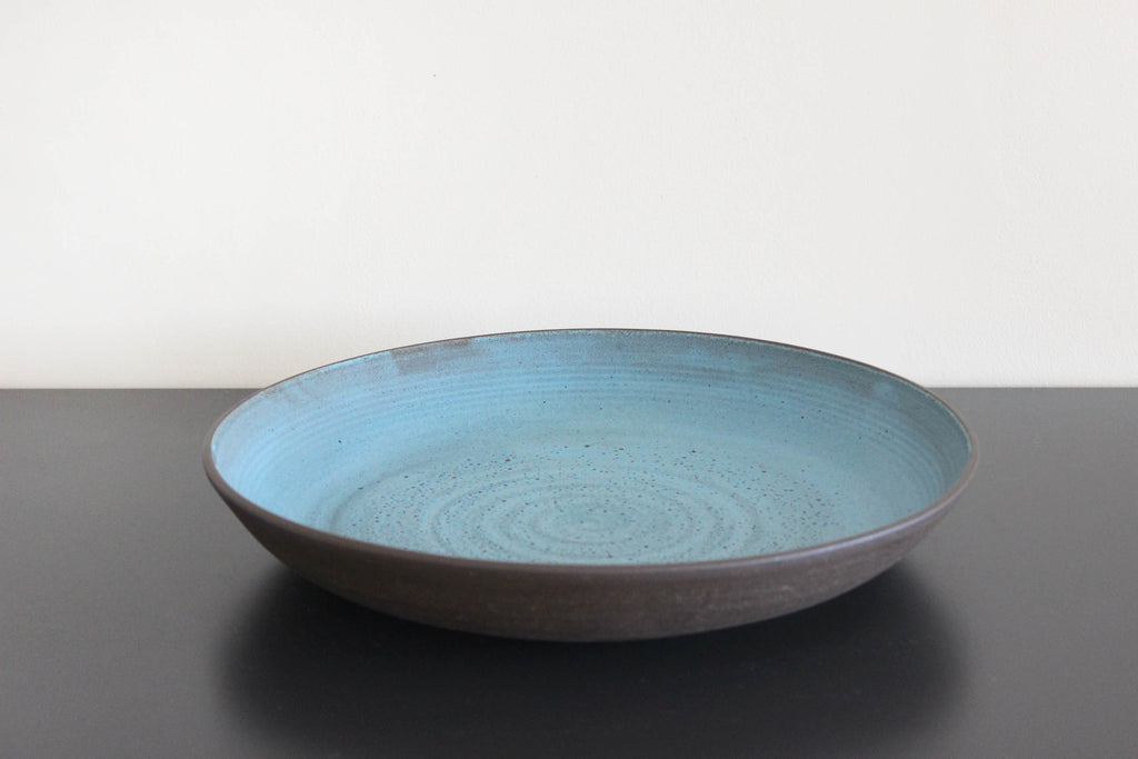 Dark Aqua Low Bowl