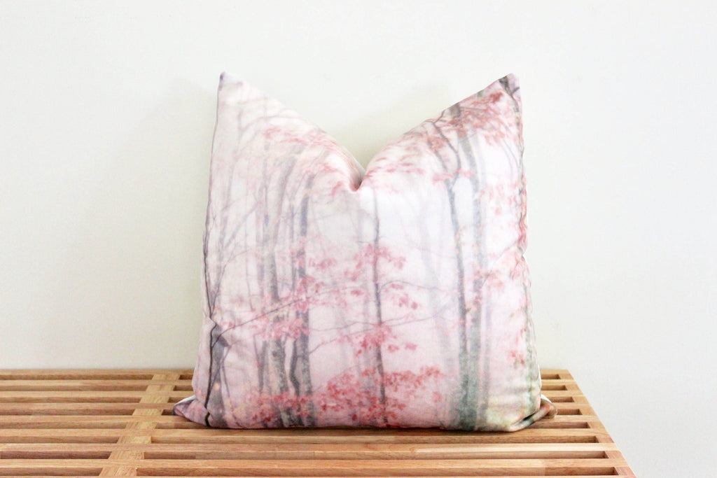 Pink Forest Pillow Cover