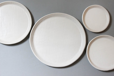 Slab plates, 3 sizes, Satin White