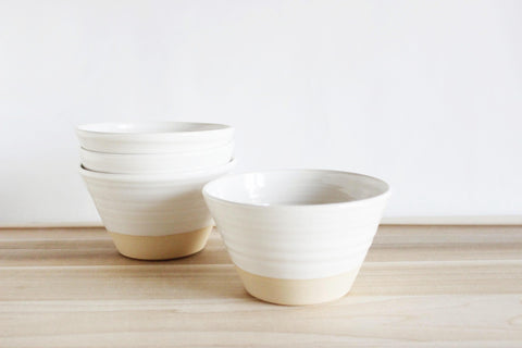 White straight sided bowl, set of 4