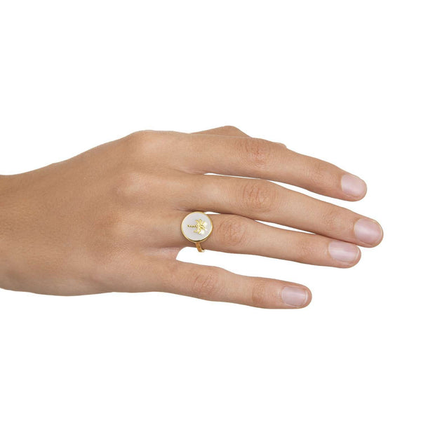 Palm Mother of Pearl Ring