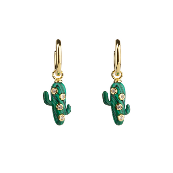 Large Malachite Cactus Earrings