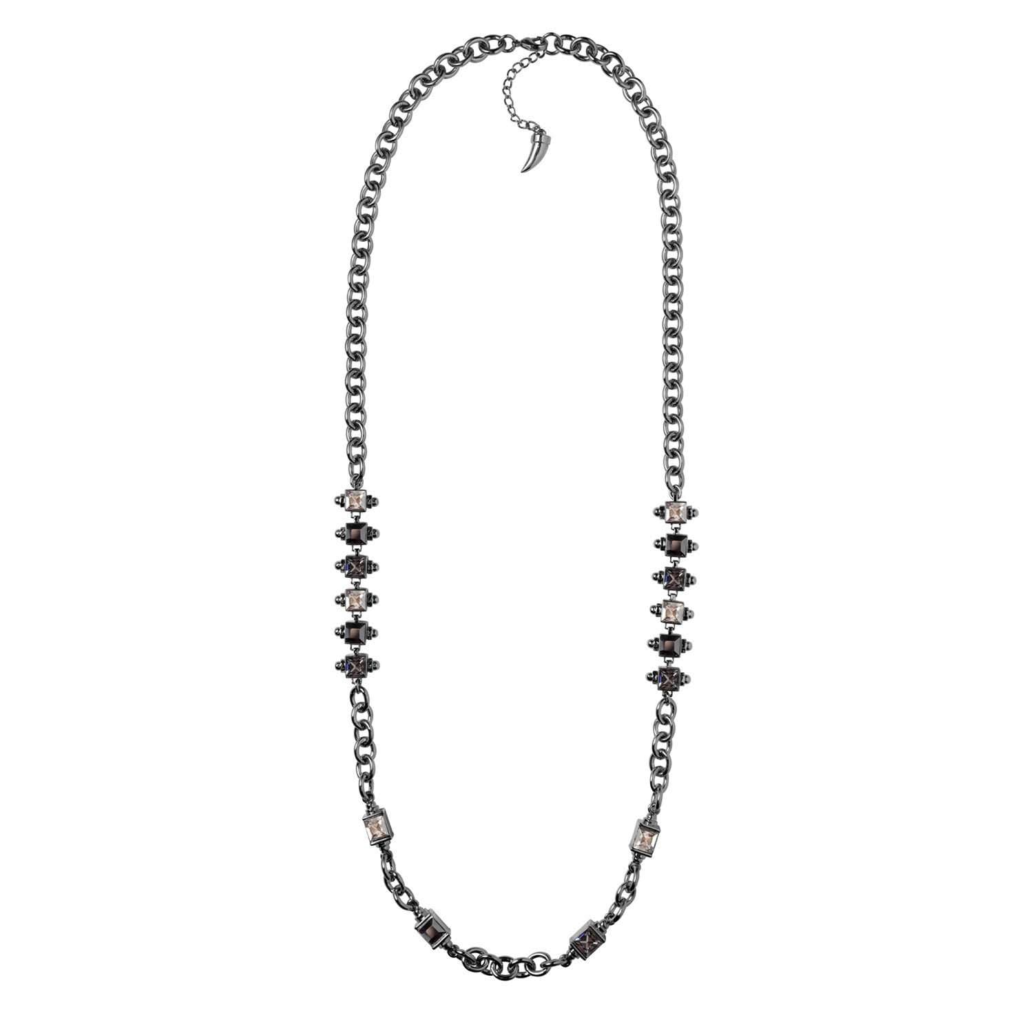 Hematite plated chain necklace with rhodium details and silver crystals