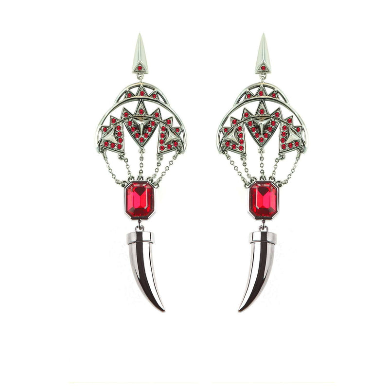 Hematite plated and siam crystals fang earrings by Eshvi