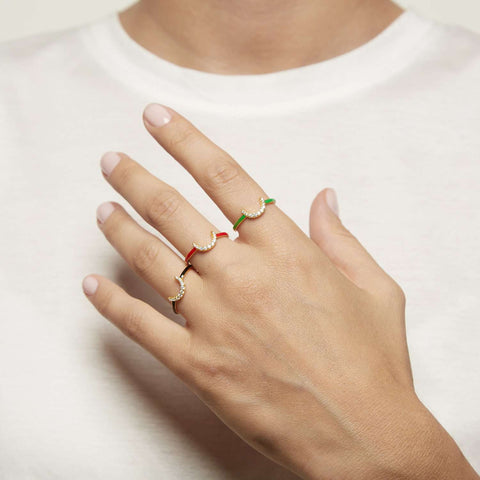 Shop Red Enamel Capsule Ring | ESHVI