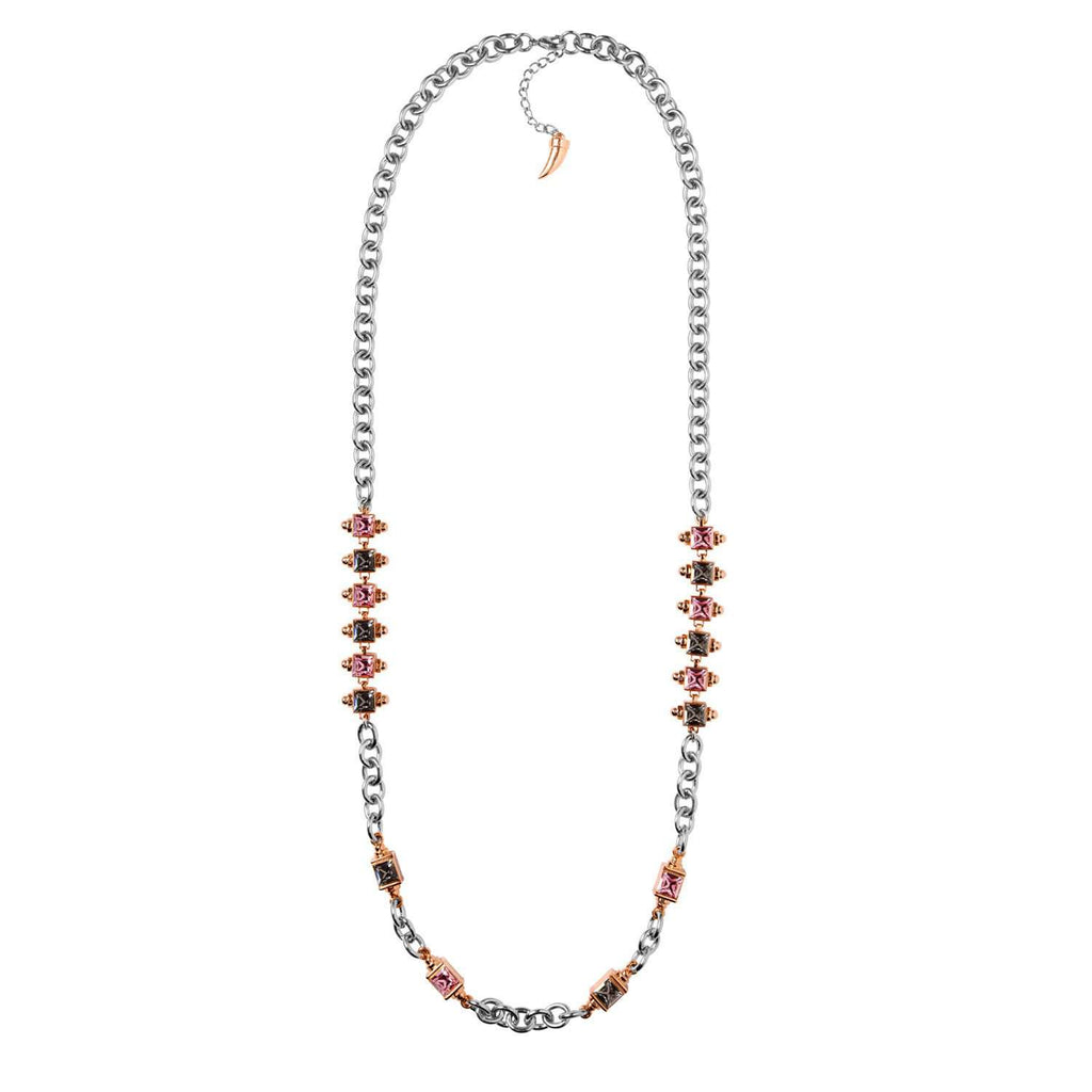 Rhodium plated chain necklace with pink and black crystals