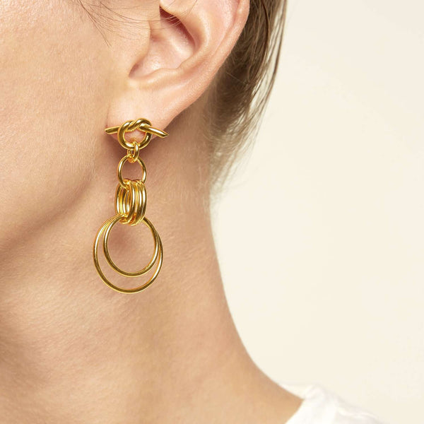 Shop online next day delivery yellow gold plated metal hoop earrings.