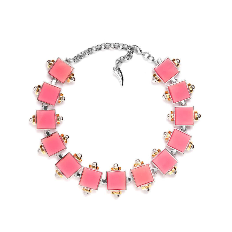 Rhodium plated choker with pink quartz resin cubes