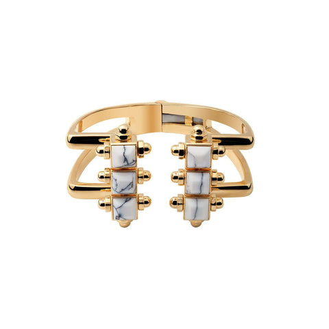 Yellow gold plated cuff with white marble resin studs