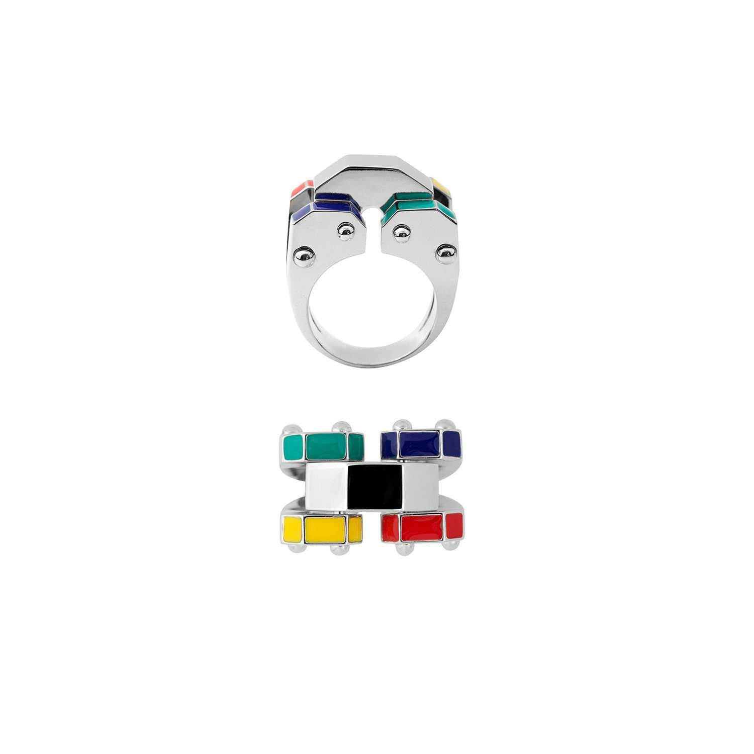 Eshvi: Colourful robot ring | Jewelry > Rings,Jewelry -  Hiphunters Shop