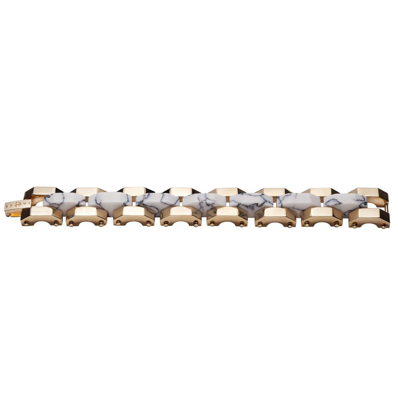 Yellow gold plated bracelet with white marble details
