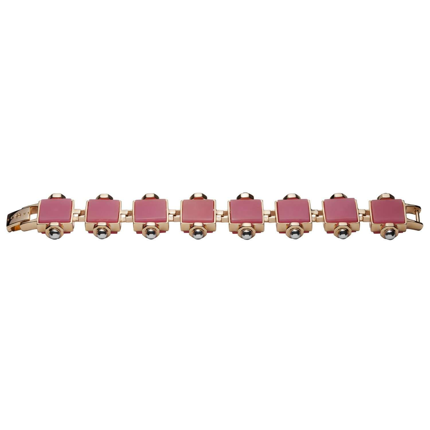 Rhodium plated bracelet, yellow gold bolts and pink quartz cubes