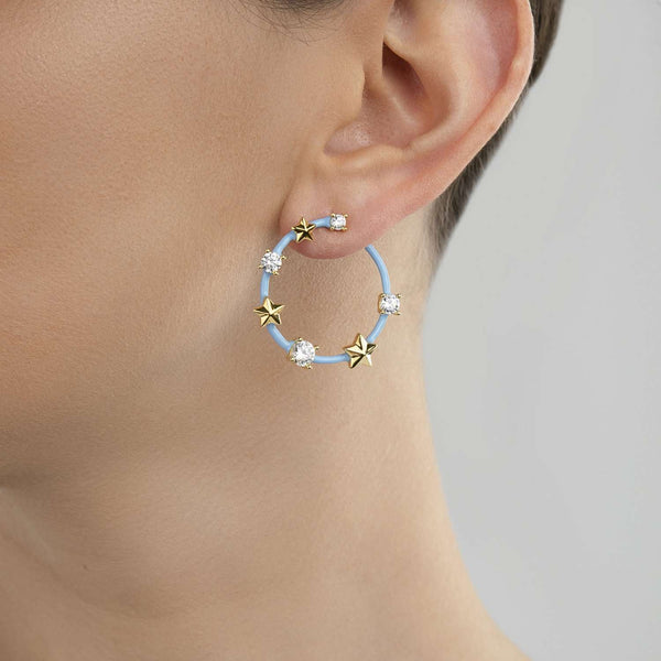 Star and crystal earrings