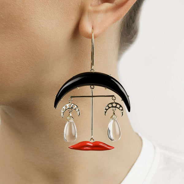 Moon and Lips Earrings