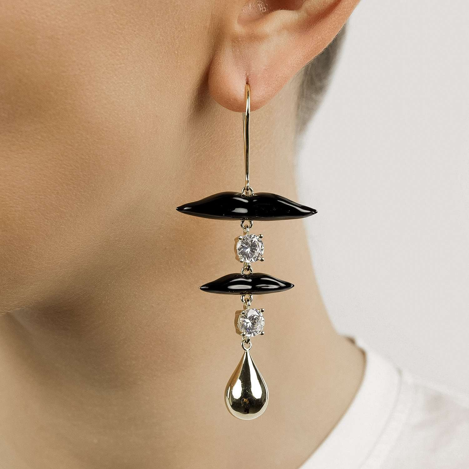 Black lips Earrings with crystal