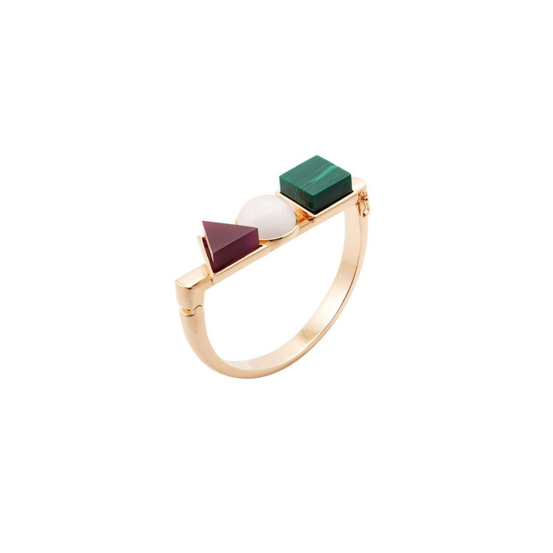 Yellow gold plated bracelet with purple and malachite resin details and white pearl imitation.   Clever and tasteful selection of colours and a classical shape makes this bracelet simply irresistible.