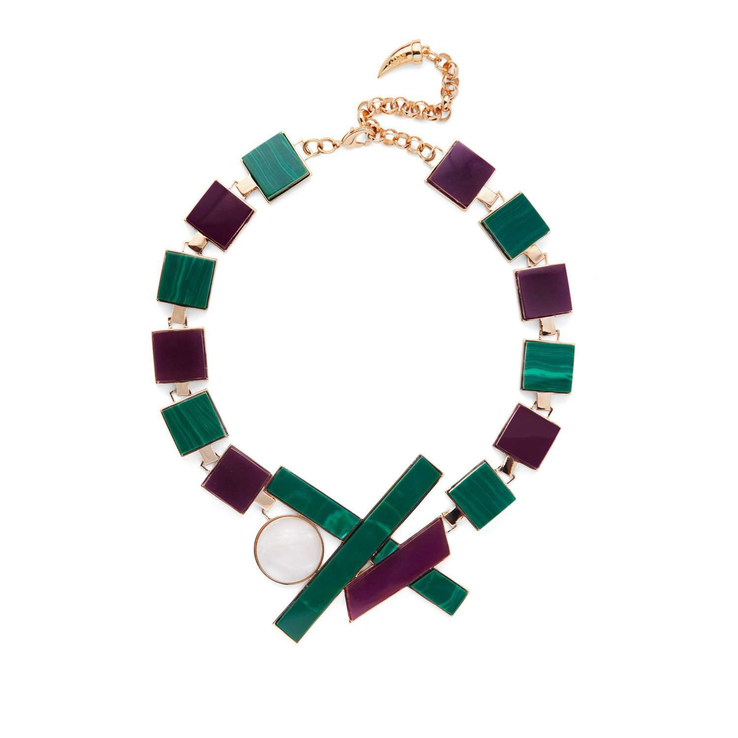 Yellow gold necklace with purple and malachite resin cubes.   You will be the centre of attention with this statement necklace. Stylish design and beautifully selected colours will make this piece an asset to every look.
