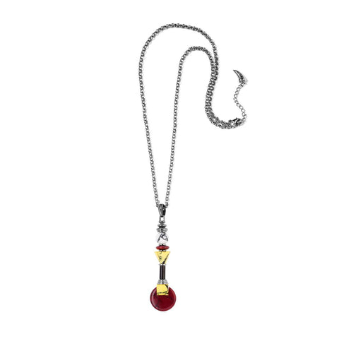 Hematite plated necklace with red, yellow and white marble resin details.   This delicate pendant necklace will add a pop of color to your look. Enjoy the combination of classic chic and quirky design. Stand out with Eshvi this season.