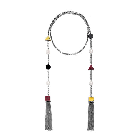 Hematite plated necklace with red, yellow and white marble resin details.   Beautifully crafted necklace offers a nostalgic feel of school. A feminine touch is added by hematite plated tassel chains.  Choice of rich colours and geometric shapes will allow you to be on trend this season.